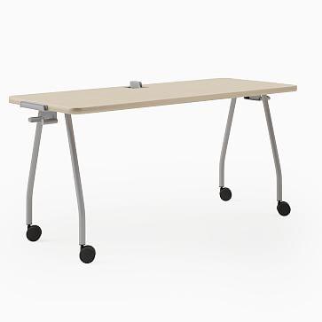 "Steelcase Verb Rectangular Table, 30""x60"", Wheels, Center Board, Winter on Maple, Black"