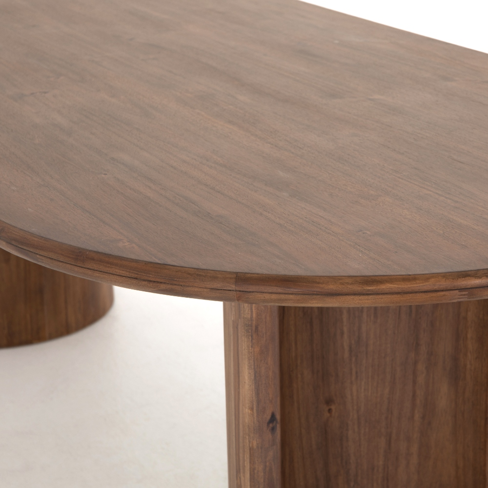 Paris Rustic Lodge Brown Acacia Wood Oval Dining Table