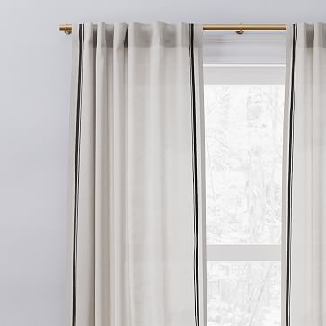 "European Flax Linen Embroidered Stripe Curtain, Belgian Flax + Midnight, 48""x108"""