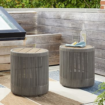 Porto Round Side Table, Driftwood, Warm Cement