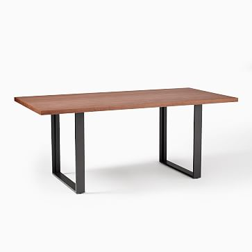 "Avery 94"" Industrial Dining Table, Winter Wood, Antique Bronze"