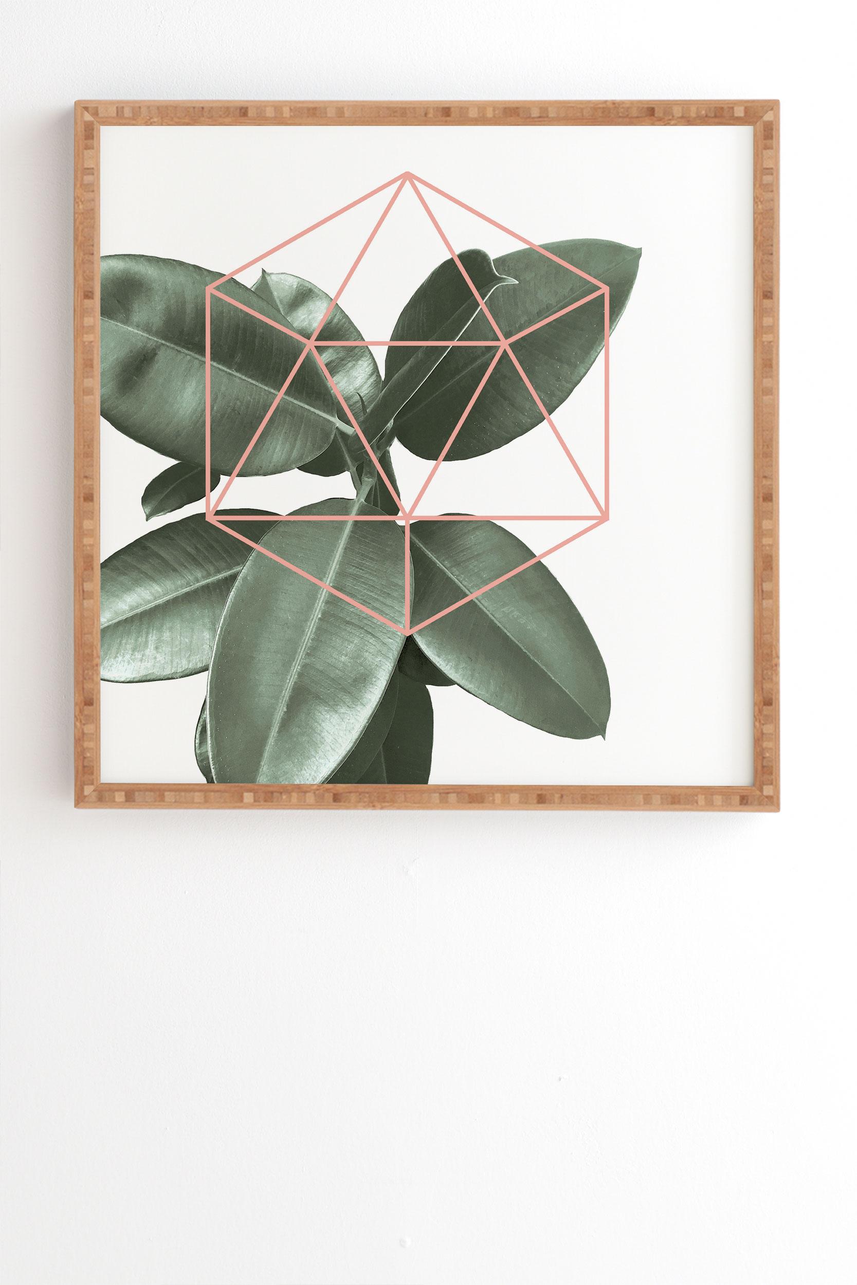 "Geometric Greenery by Gale Switzer - Framed Wall Art Bamboo 30"" x 30"""