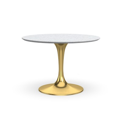 Tulip Pedestal Oval Dining Table, Aged Bronze Base, Walnut Top