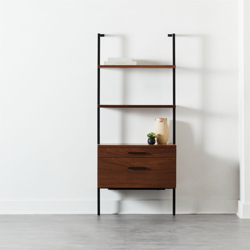 """Helix 70"""" Walnut Bookcase with 2 Drawers"""