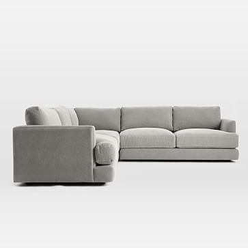 Haven Sectional Set 03: Left Arm Sofa, Corner, Right Arm Sofa, Poly, Performance Velvet, Silver, Concealed Supports