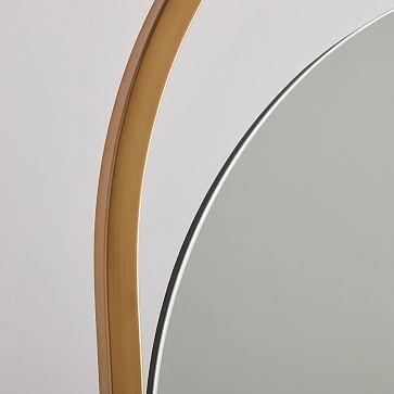 Folded Ellipse Standing Mirror, Antique Brass