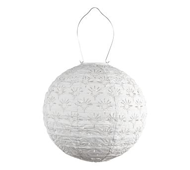 Handcrafted Deco Globe Solar Lantern, Porcelain, 12'W