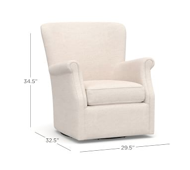 SoMa Minna Upholstered Swivel Armchair, Polyester Wrapped Cushions, Vintage Stripe Khaki/Ivory