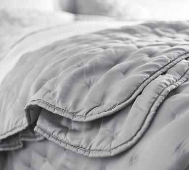 Steel Blue TENCEL(TM) Wrinkle-Resistant Quilt, Full/Queen