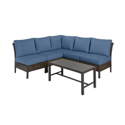 Hampton Bay Harper Creek Brown 6-Piece Steel Outdoor Patio Sectional Sofa Seating Set with CushionGuard Sky Blue Cushions