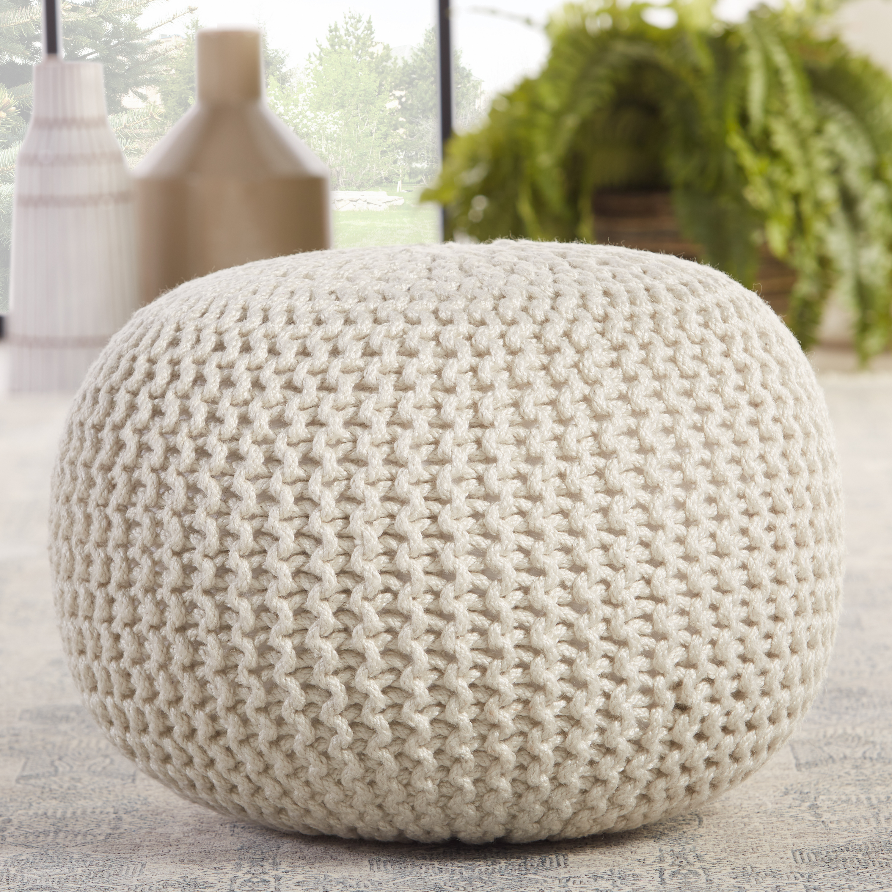 Asilah Indoor/ Outdoor Solid White Cylinder Pouf