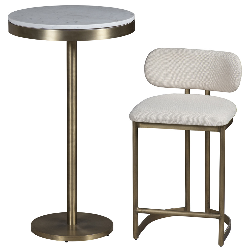 Freya Modern Classic White Upholstered Antique Brass Counter Stool