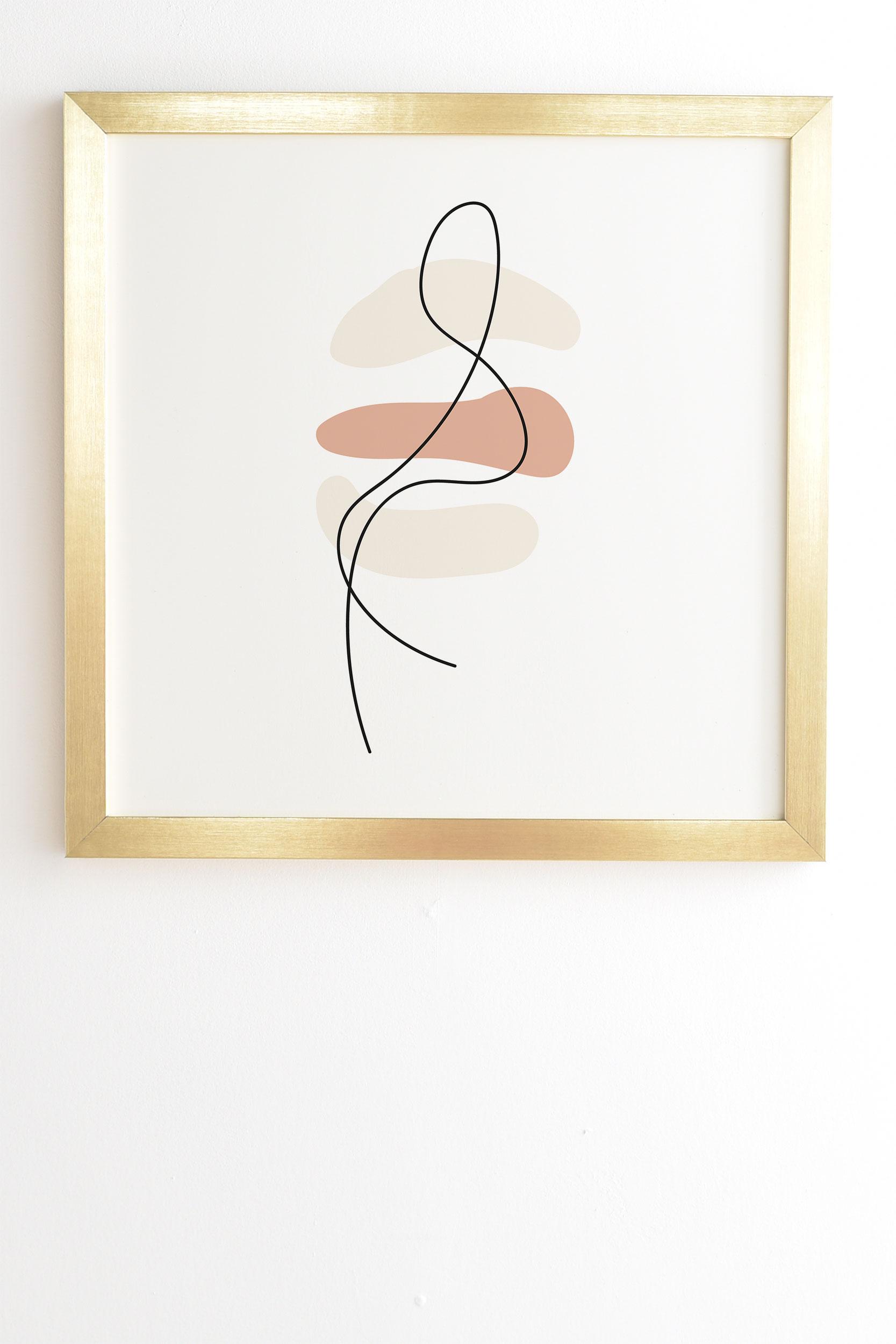 "Abstract Minimal Line Beige by Mambo Art Studio - Framed Wall Art Basic Gold 19"" x 22.4"""