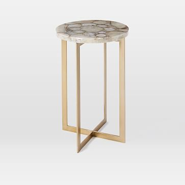 Agate Side Table, Neutral/Antique Brass