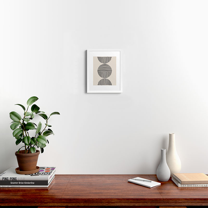 "Evening Lines by Urban Wild Studio - Modern Framed Art Print, White, 11"" x 14"""