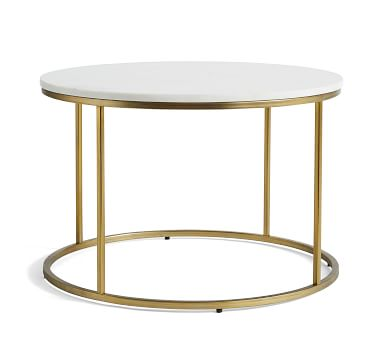 """Delaney Marble Round Coffee Table, White Marble, 25""""L"""