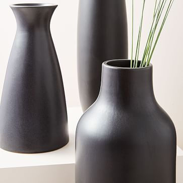 Pure Black Ceramic Vase, Squat