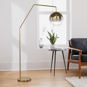 Sculptural Overarching Floor Lamp, Globe Small, Silver Ombre, Antique Bronze