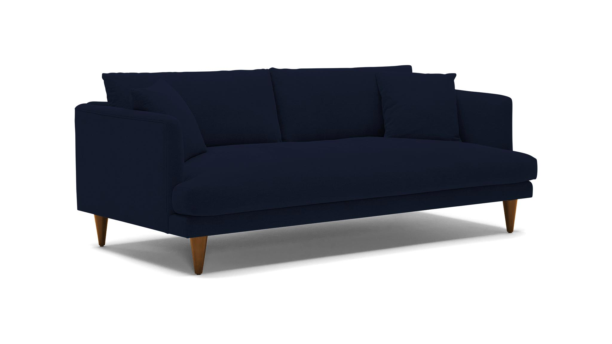 Blue Lewis Mid Century Modern Sofa - Bentley Indigo - Mocha - Cone