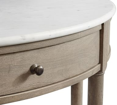 Alexandra Marble Demilune Console Table, Gray Wash