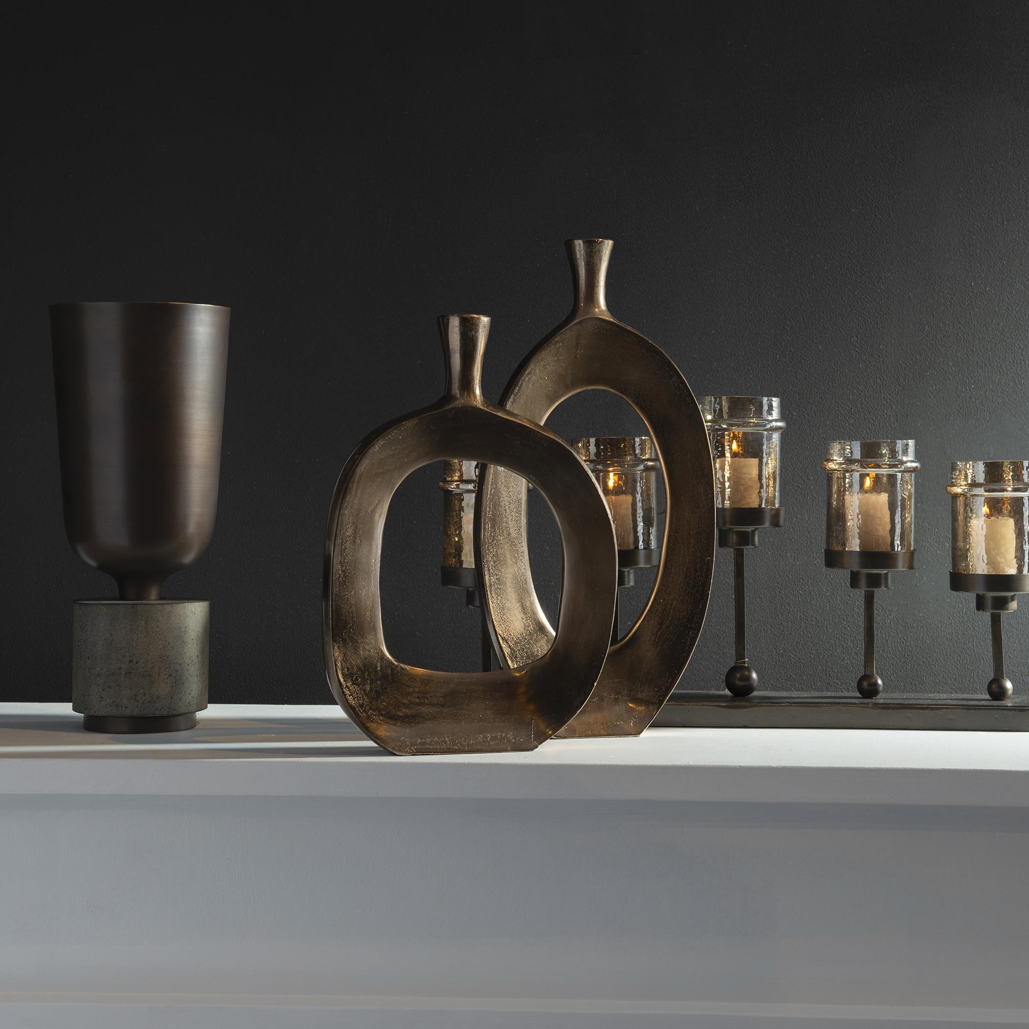 Kyler Textured Bronze Vases, Set of 2