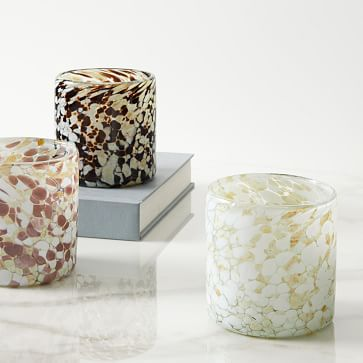 Speckled Mexican Glass Votive, Natural, Gray, Blush, Set of 3