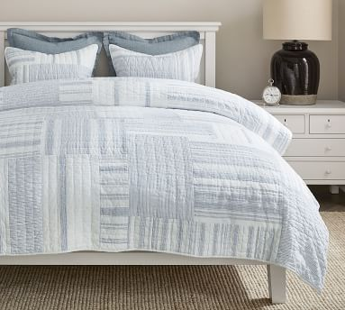 Chambray Hawthorn Handcrafted Patchwork Quilted Sham, Standard