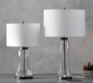 """Berkeley USB Table Lamp, 25"""", Bronze & Clear Glass Base With Medium Gallery SS Shade, White"""