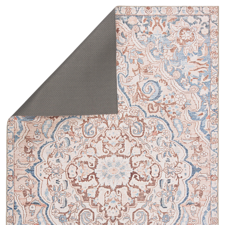 Annette Indoor/ Outdoor Medallion Blue/ Light Pink Area Rug (8'X10')