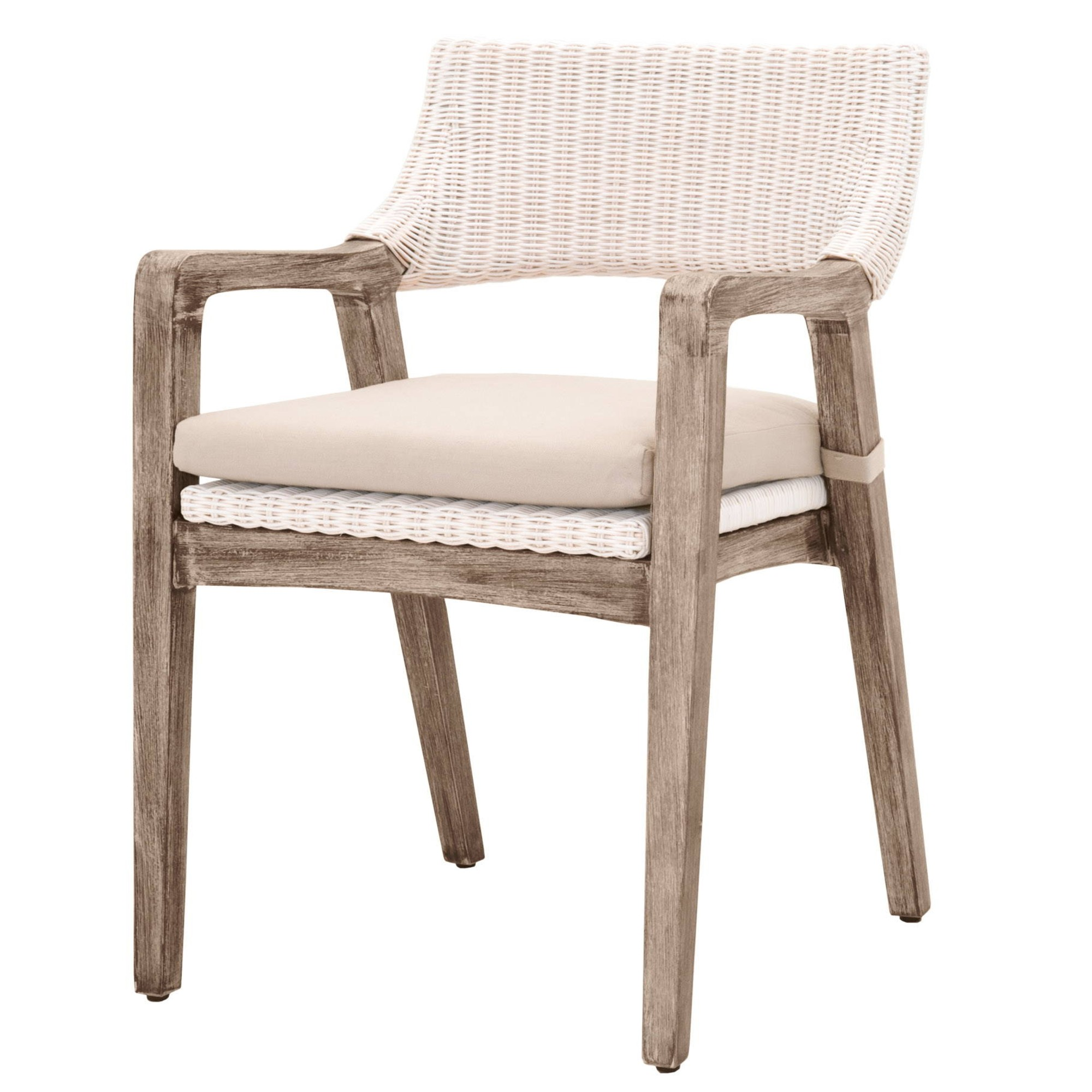 Lucile Modern Classic Woven Wicker Grey Mahogany Frame Dining Arm Chair