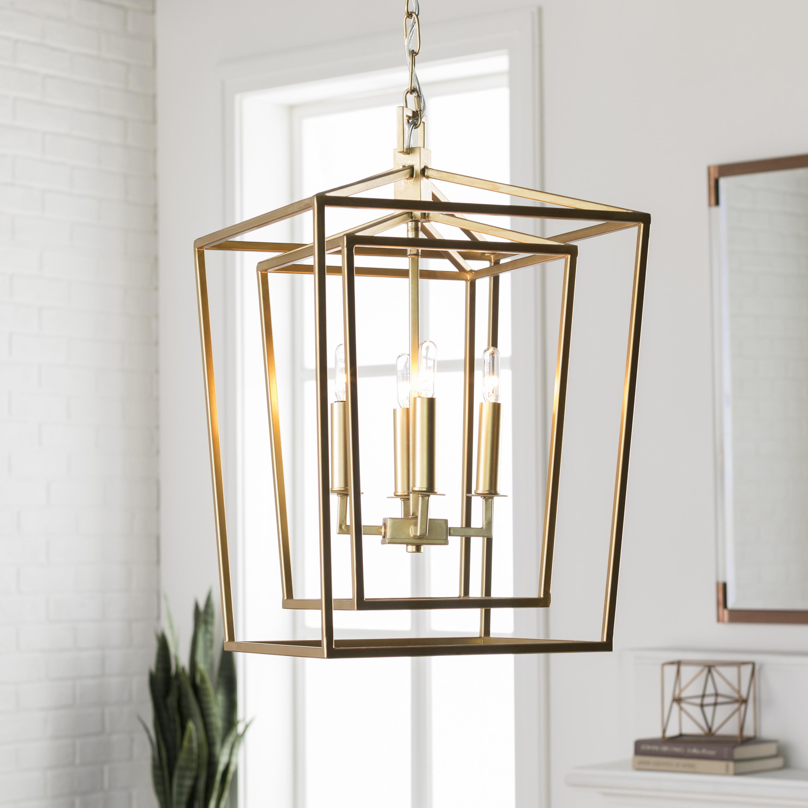 Bellair Lantern Ceiling Light Fixture, Gold