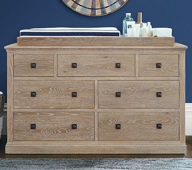 Charlie Extra Wide Dresser & Topper Set, Weathered Navy, Flat Rate
