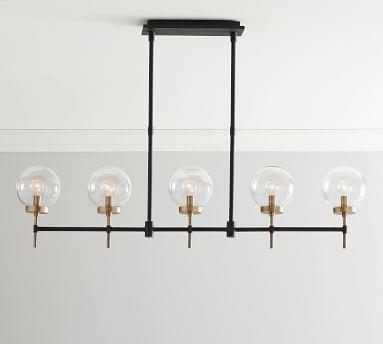 Camryn Metal Linear Chandelier, Bronze & Antique Brass