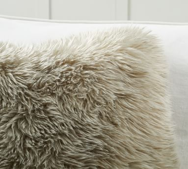 """Faux Real Fur Pillow Cover, 20 x 20"""", Olive"""