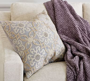 """Sawyer Medallion Embroidered Pillow Cover, 22 x 22"""", Neutral Multi"""