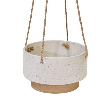 Claire White Speckled Ceramic Hanging Planter