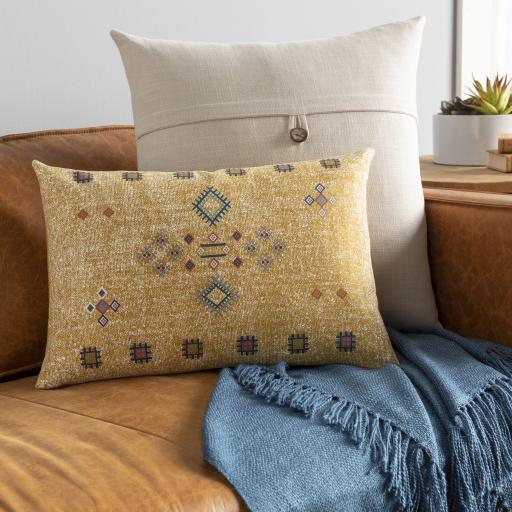 """Sierra Lumbar Pillow, 20"""" x 13"""", Mustard"""