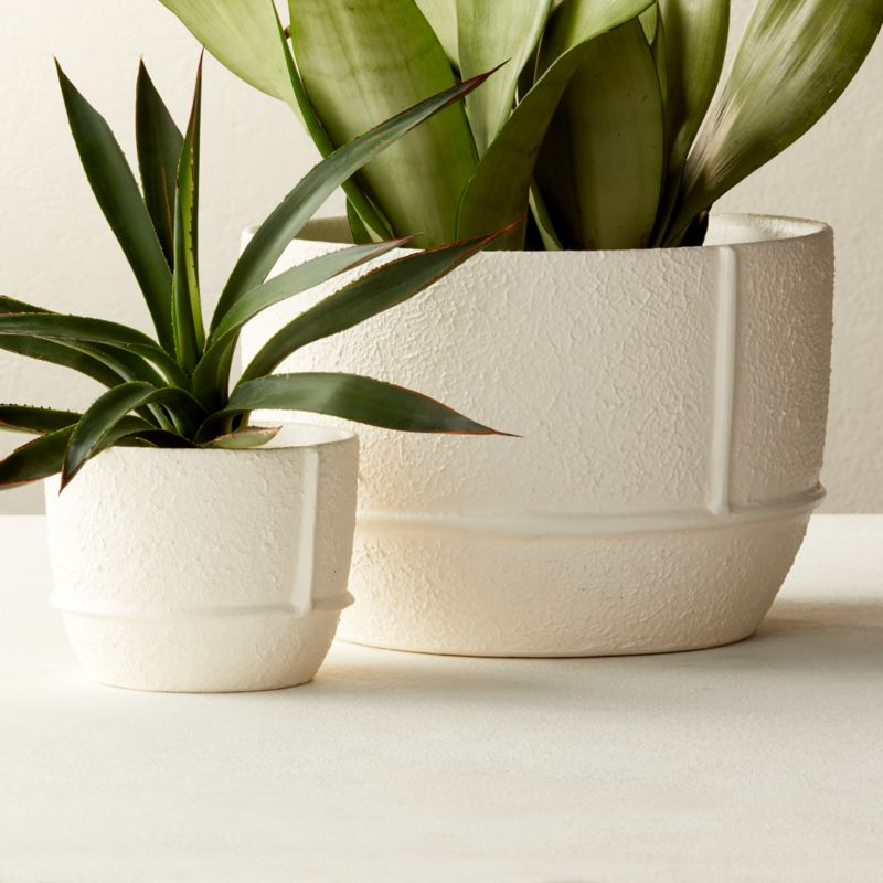 Theory Large White Textured Planter