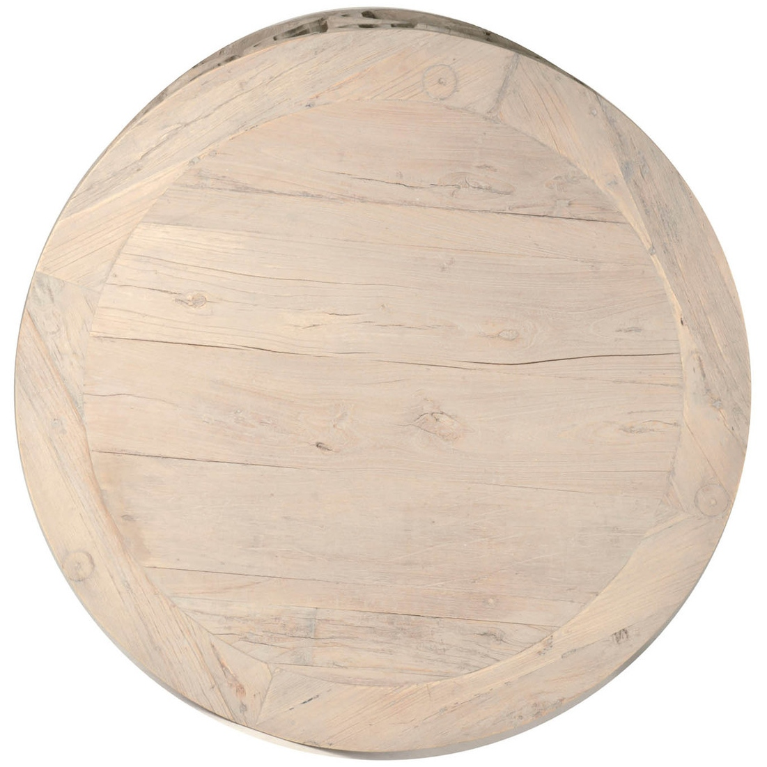 Mia French Country Grey Reclaimed Wood Round Round Coffee Table - Large