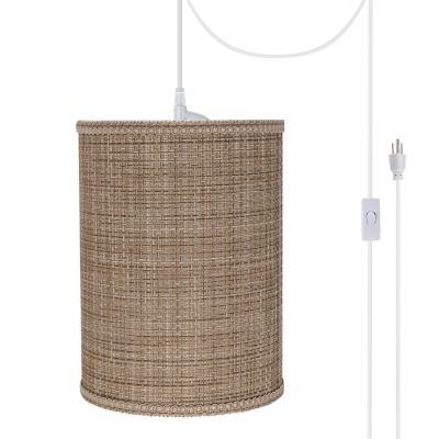 Aspen Creative Corporation 1-Light White Plug-in Swag Pendant with Brown Tween Hardback Drum Fabric Shade