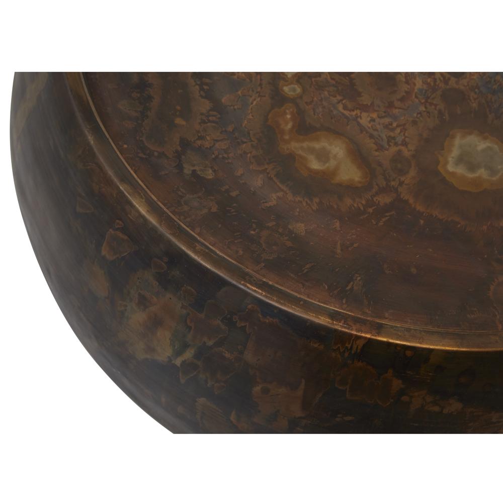 Zelda Industrial Loft Dark Antique Brass Steel Round Coffee Table