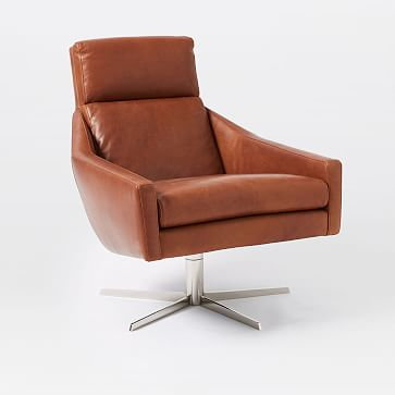 Austin Leather Swivel Chair, Aspen Leather, Chestnut, Polished Nickel, Set of 2