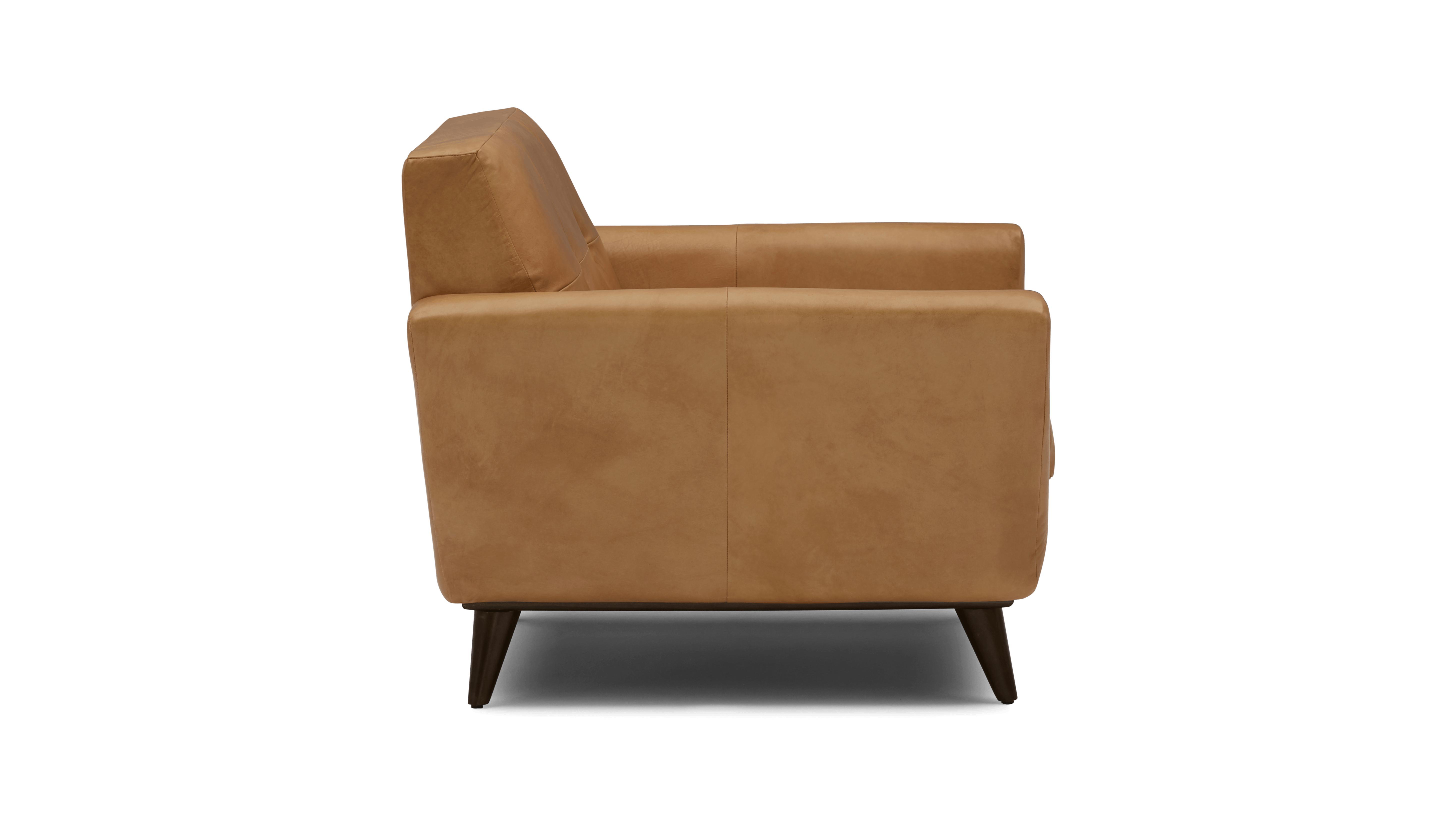 Brown Hughes Mid Century Modern Leather Chair - Santiago Camel - Mocha