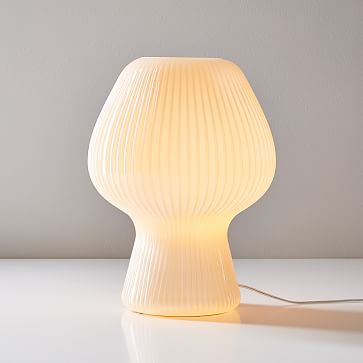 Ribbed Glass Accent Lamp, Champagne