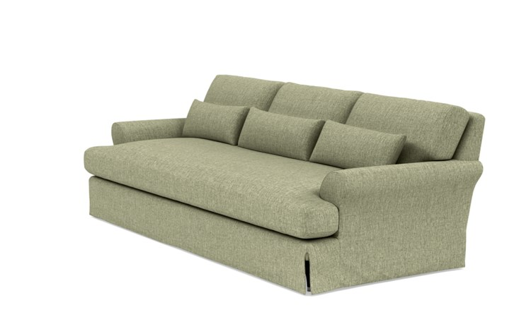 Maxwell Slipcovered Sofa with Green Sprout Fabric and Oiled Walnut with Brass Cap legs