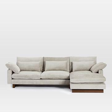 Harmony Sectional Set 09: Left Arm 2 Seater Sofa, Right Arm Chaise, Performance Coastal Linen, Stone White, Dark Walnut
