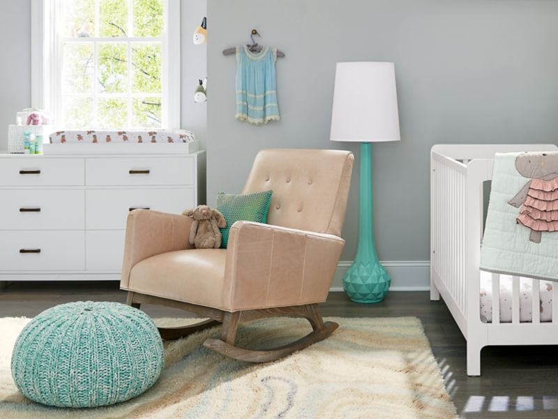 Carousel White Low-Profile Crib