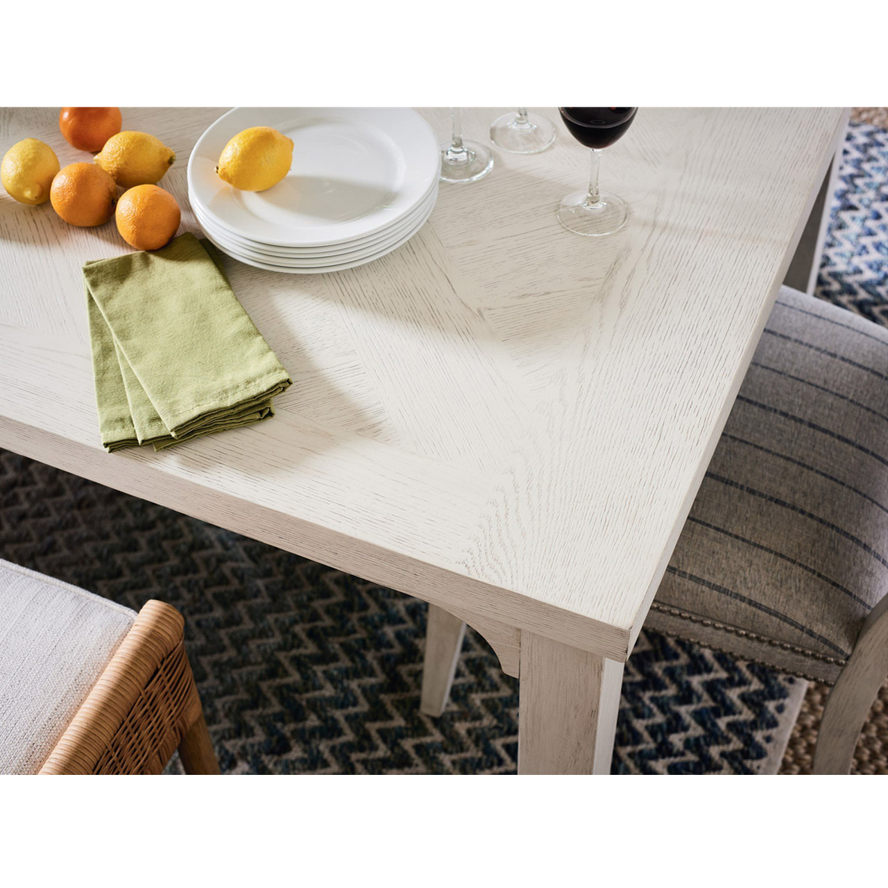 Estella Coastal Beach White Wood Dining Table - Extendable