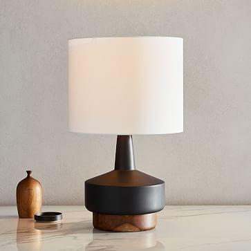 Wood + Ceramic Table Lamp, Medium, Black, Individual