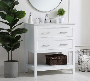 "Clemens Single Sink Vanity Cabinet, White, 24"""